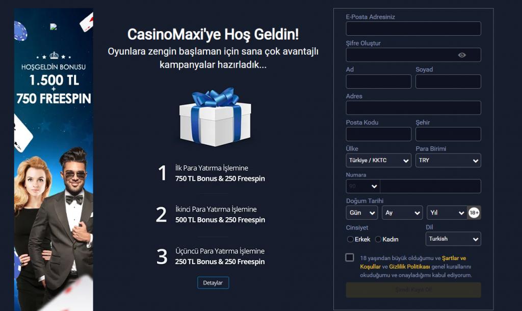 CasinoMaxi Üyelik